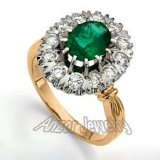 Russian Vintage Style Genuine Emerald and Diamond Ring 0.80 cwt #R1590