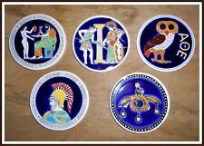 hand made ceramik greece  VINTAGE round beer coasters