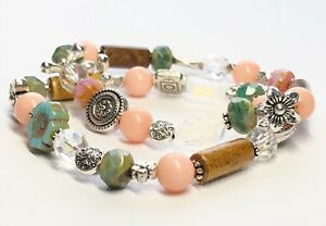 Stretch layering bracelet set Coral Forest Green Opal Czech Glass Sundance Style