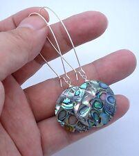 Beautiful Paua Abalone Sterling Silver  Earrings -- Kidney Wire A0621