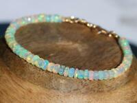 100% Natural Ethiopian Faceted Opal Gemstone Bead Bracelet 925 Silver Lock
