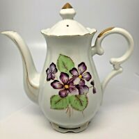 "Vintage Tea Pot With Lid Purple Violets Floral Design Gold Trim 7"" Tall Japan"