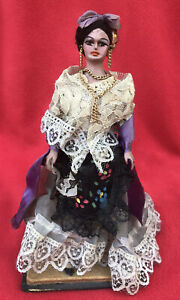 Vintage Collectible Mexican Folk Art Carved Wood Doll In Elegant Finery