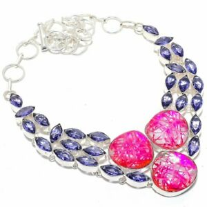 """Carved Pink Rutile Quartz, Amethyst Silver Jewelry Necklace 18""""A0259"""