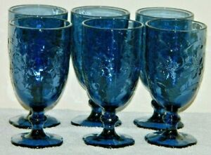 "PRINCESS HOUSE CRYSTAL FANTASIA BLUE 16oz ICE TEA FOOTED GLASSES "" SET OF 6 """