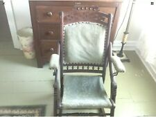Antique Walnut Unique Carved Fold Up Rocker / Rocking Chair, Really Nice