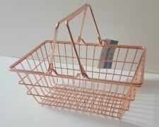 COPPER ROSE GOLD WIRE MINI SHOPPING Desk STORAGE EGG BASKET Stationary BATHROOM