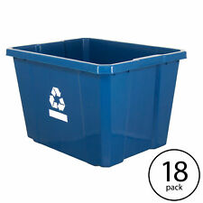 Gracious Living Medium Plastic Curbside 17g Home Recycling Bin, Blue (18 Pack)