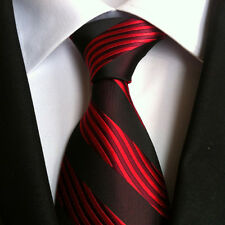 Classic Mens Silk Tie Necktie Black Dark Red Stripes Woven JACQUARD Neck Ties