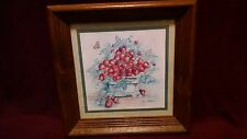 Vintage Home Interiors Ava Freeman strawberries framed picture. Late 1970's.