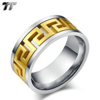 TT Stainless Steel Gold Greek Pattern Inlaid Wedding Band Ring R276 Size 6-15