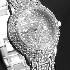 Fashion Silver Bling Ladies Women Watch Bracelet Quartz Wrist Watches Crystal