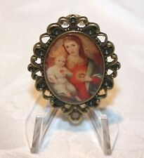 Custom Bronze Rosary Center Part/Color Image/Rosary Making/Mother Mary w/ Child