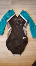 Gk Child Small Long Sleeve Leotard Blue Gray Black with Rhinestones
