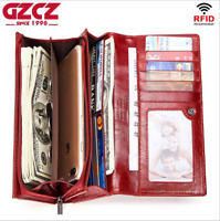 Women Genuine Leather Cowhide Clutch Long Wallet Credit Card Holder RFID Purse