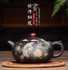 Genuine China handmade Yixing ZiSha Zi Ni phoenix peony Teapot 300 cc