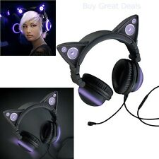 Cat Ear Headphones Speaker Gaming Mic Light Glow Cosplay Headset Furry Party NEW