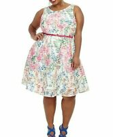 Gabby Skye Textured Scuba Knit Pink Floral A Line Dress Plus Size 22W - No Belt