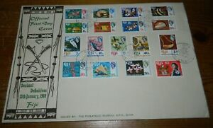 FIJI 1969 DEFINITIVE SET OF 17 STAMPS ON LARGE FIRST DAY COVER