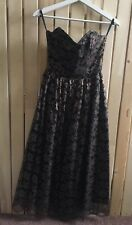 VINTAGE ladies prom dress Size 10 8 6 antique gold black lace Wedding 50s party
