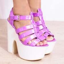 Wedged Platforms Wedges Sling Backs Strappy Sandals High HEELS Shoes Size 3 4 5 Pink Hologram Uk5/euro38/aus6/usa7 Koi .hologram