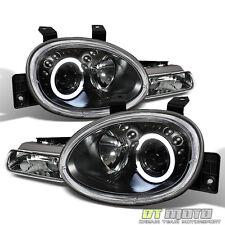 Black 1995-1999 Dodge Neon LED Halo Projector Headlights w/Parking Signal Lights