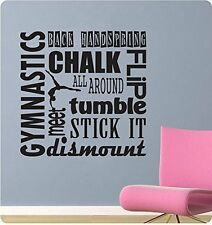 "24"" Gymnastics Sports Saying Collage Handspring Tumble Wall Decal Sticker Home"