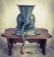 Antique no.3 Coffee Grinder Blue Gold Mill Moulin Molinillo Cafe kaffeemuehle