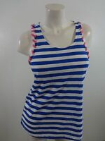 $18 NWT BONGO WOMENS BLUE & WHITE & PINK STRIPED TANK TOP SIZE M