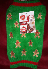 Dog Puppy Sweater Size XS Knit Clothing Green w/ Gingerbread Man Pattern NEW NWT