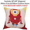 "18x18 18"" 18in MINION IRONMAN Zipper Throw Pillow Case Cushion Disney Marvel DC"