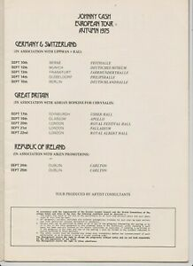 JOHNNY CASH  JUNE CARTER 1975 EUROPEAN AUTUM TOUR COUNTRY MUSIC CONCERT PROGRAM