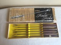 VINTAGE 6 PIECE STAINLESS STEEL FONDUE FORKS WITH WOOD HANDLES IN ORIGINAL BOX