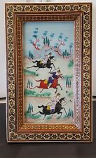 Vintage PERSIAN Painting on Bone Khatam Marquetry Frame  Playing Polo
