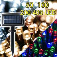 50 100 200 400 LED String Solar Powered Fairy Lights Garden Xmas Outdoor Light