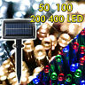50/100/200/400 LED Waterproof Solar Power String Fairy Lights Outdoor XMAS Party