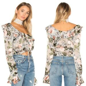BNWT For Love & Lemons Luciana Silk Blend Floral Ruffle Cropped Top Size Small