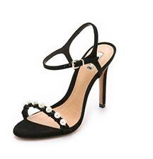 NIB Schutz Suede Black Pearl High Heel Sandals Heels 7.5 7