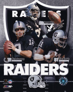 2003 Oakland Raiders Tim Brown Jerry Rice Rich Gannon 8x10 Photo