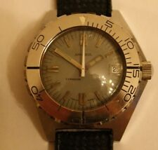 Vintage Grey Sandoz Typhoon 1000m Super Dome Dive Watch – super rare.