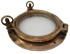 "Marine BRASS PORT HOLE / Window / Porthole - 8"" GLASS - TOUGHENED GLASS"