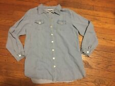 Soft Surroundings Blue Chambray Button Down Tencel Denim Shirt I Top Large L