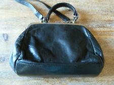 ancien Sac à main rétro vintage  pinup gris cuir noir pochette porte monnaie