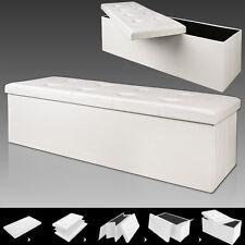 "Large Folding Storage Ottoman Stool Bench Footstool White Black Brown 45"" X 16"""