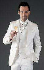 Men's Ivory(Cream) Slim Fit Suit Grooms Tuxedo Wedding Party Wear Coat+Pant+Vest