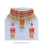 Indian Kundan Gold Plated Meena Choker Necklace Earrings Jewelry Set
