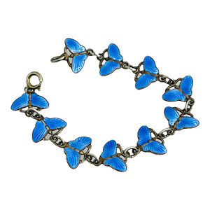 """Norway Vintage Sterling Silver & Blue Enamel Butterfly Link Bracelet 6 1/2"""""""