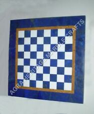 """15"""" Coffee Marble Top Chess End Table Lapis Handmade Inlay Hallway Deor H4701A"""