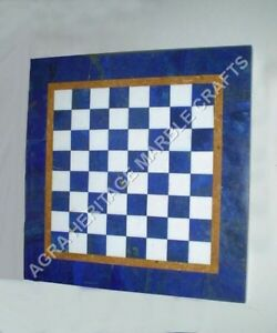 """12"""" Blue Marble Chess Coffee Side Table Top Lapis Inlay Living Room Decor H4701"""