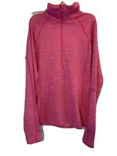 Under armour Athletic Shirt 3/4 Zip Up Women's  Pink Large Thumb Holes